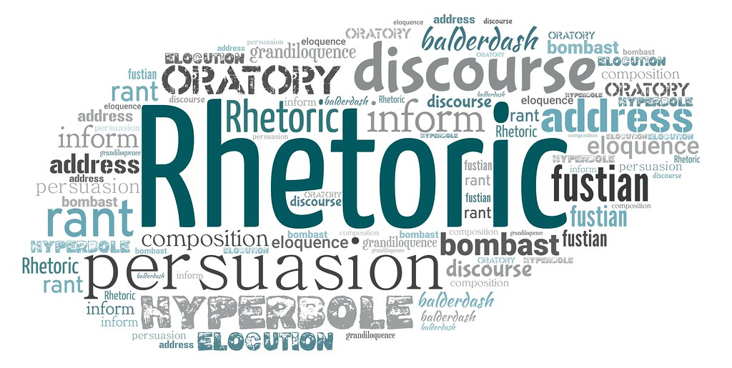 Word cloud with concepts associated with the word Rhetoric